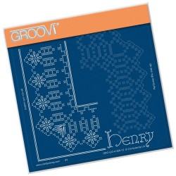 (GRO-GG-41200-12)Groovi Grid Piercing Plate HENRY LACE FRAME CORNER DUET