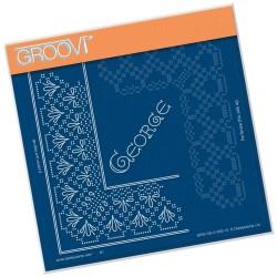 (GRO-GG-41203-12)Groovi Grid Piercing Plate GEORGE LACE FRAME CORNER DUET