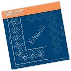 (GRO-GG-41202-12)Groovi Grid Piercing Plate EDWARD LACE FRAME CORNER DUET
