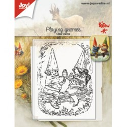 (6410/0507)Clear stamp playing Gnomes
