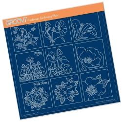 (GRO-FL-41231-15)Groovi Plate A4 LINDA'S 123 - WILD FLOWERS