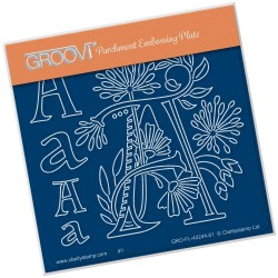 (GRO-FL-40244-01)Groovi® Baby plate A6 BARBARA'S FLORAL ALPHABET - A
