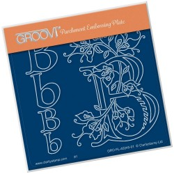 (GRO-FL-40245-01)Groovi® Baby plate A6 BARBARA'S FLORAL ALPHABET - B