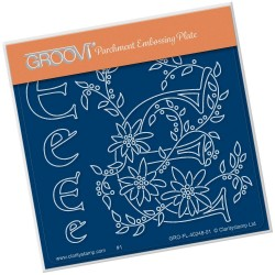(GRO-FL-40248-01)Groovi® Baby plate A6 BARBARA'S FLORAL ALPHABET - E