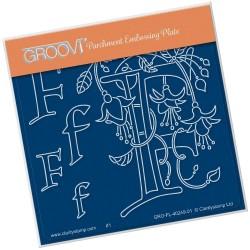 (GRO-FL-40249-01)Groovi® Baby plate A6 BARBARA'S FLORAL ALPHABET - F