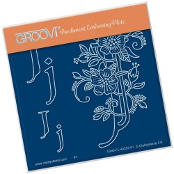 (GRO-FL-40253-01)Groovi® Baby plate A6 BARBARA'S FLORAL ALPHABET - J