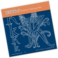 (GRO-FL-40254-01)Groovi® Baby plate A6 BARBARA'S FLORAL ALPHABET - K