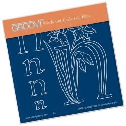 (GRO-FL-40257-01)Groovi® Baby plate A6 BARBARA'S FLORAL ALPHABET - N