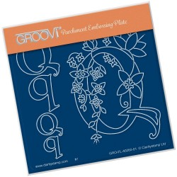 (GRO-FL-40260-01)Groovi® Baby plate A6 BARBARA'S FLORAL ALPHABET - Q