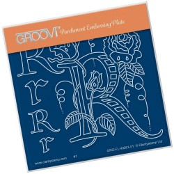 (GRO-FL-40261-01)Groovi® Baby plate A6 BARBARA'S FLORAL ALPHABET - R