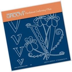 (GRO-FL-40265-01)Groovi® Baby plate A6 BARBARA'S FLORAL ALPHABET - V