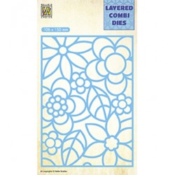 (LCDB001)Nellie's Layered combi dies Rectangle Flowers-2 Layer-A