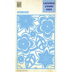 (LCDB003)Nellie's Layered combi dies Rectangle Flowers-2 Layer-C