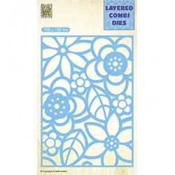(LCDB002)Nellie's Layered combi dies Rectangle Flowers-2 Layer-B