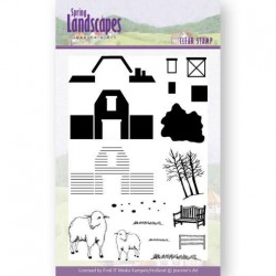 (JACS10025)Clear Stamps - Jeanines Art- Spring Landscapes Farm