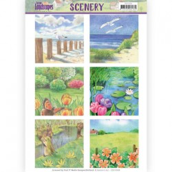 (CDS10008)Die Cut Topper - Scenery Jeanines Art - Spring Landscapes 1