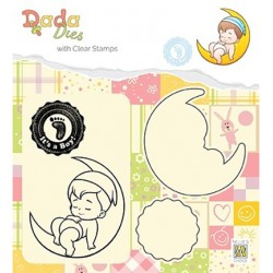 (DDCS011)Nellie's DADA Dies with stamp It's a boy: on the moon
