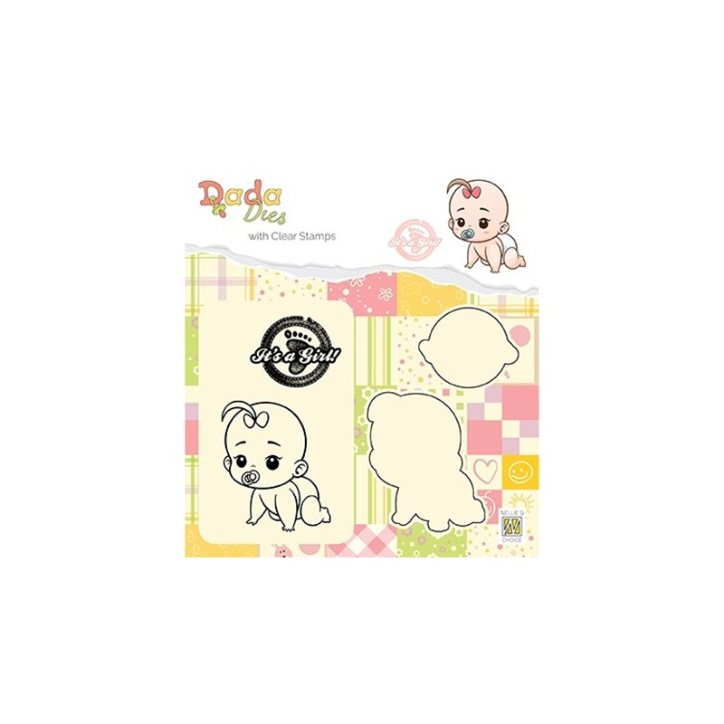 (DDCS012)Nellie's DADA Dies with stamp It's a girl: crawling