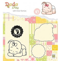 (DDCS013)Nellie's DADA Dies with stamp It's a girl: taking a rest
