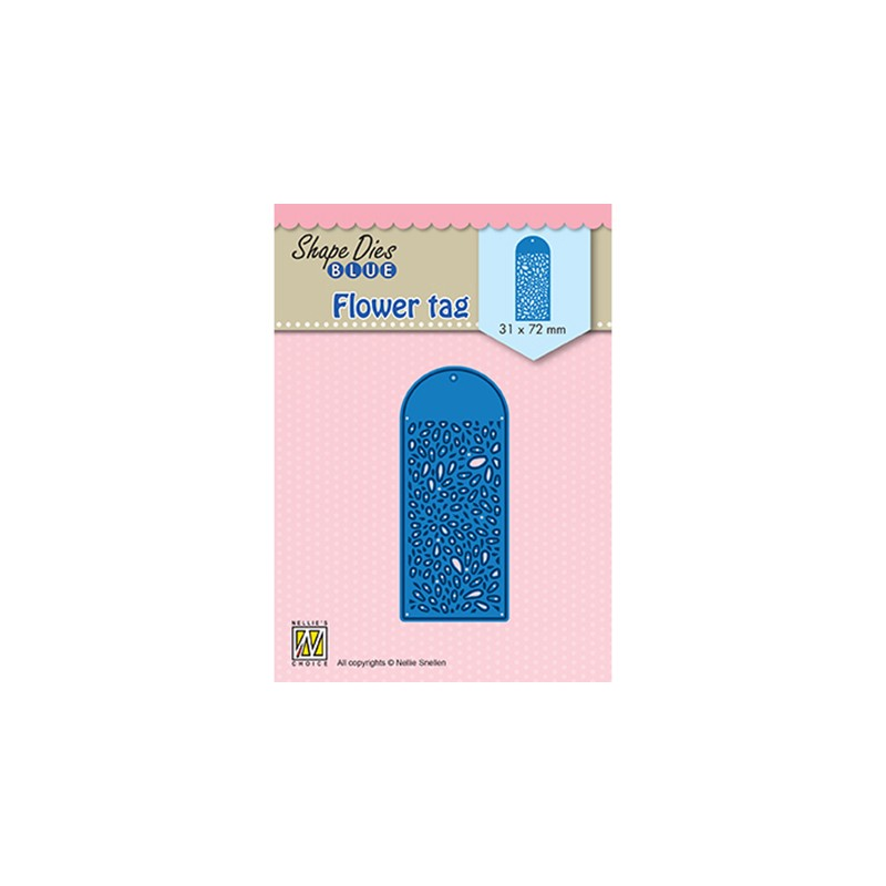 (SDB077)Nellie's Shape Dies Blue Flower tag