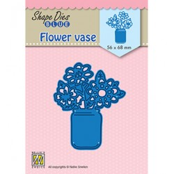 (SDB081)Nellie's Shape Dies Blue Flower vase