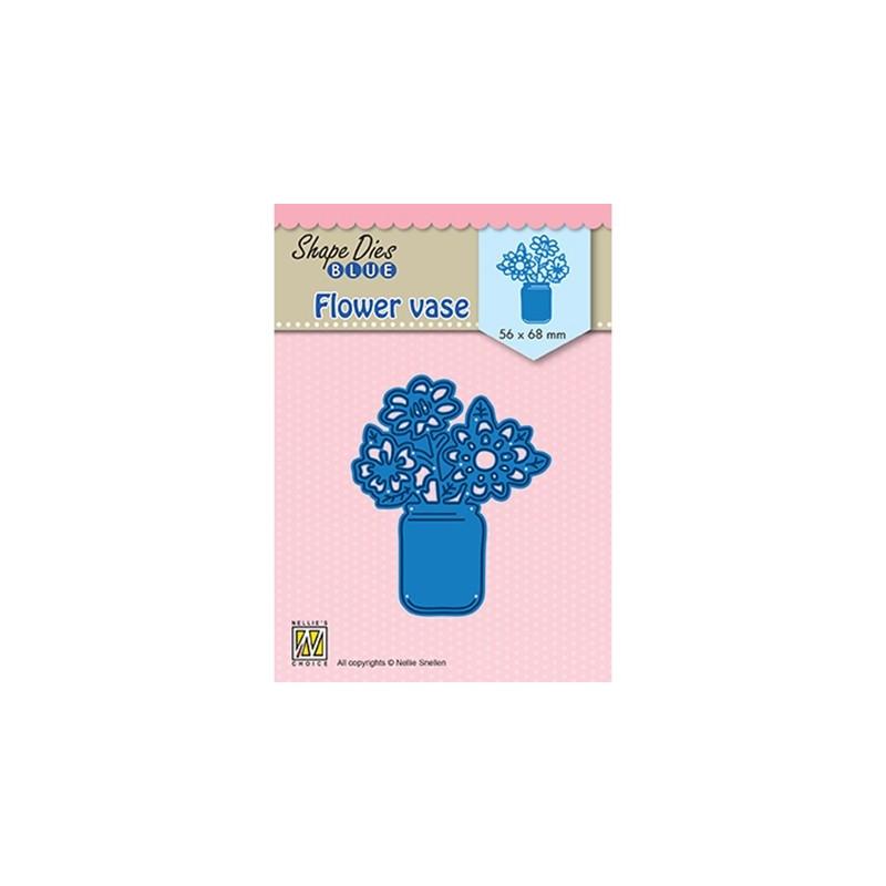 (SDB081)Nellie's Shape Dies Blue Flower vase