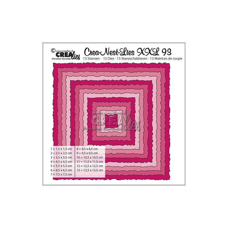 (CNLXXL93)Crealies Crea-Nest-Lies XXL no. 92 Squares with rough edges