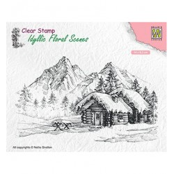 (IFS015)Nellie`s Choice Clearstamp - Snowy landscape with cottage