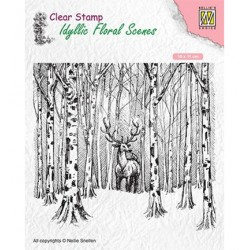 (IFS017)Nellie`s Choice Clearstamp - Deer in forest