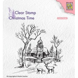 (CT027)Nellie's Choice Clear Stamp Christmas time Wintery scene with church & reindeer