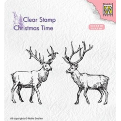 (CT028)Nellie's Choice Clear Stamp Christmas time Two reindeer