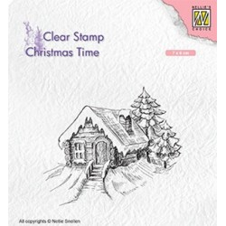 (CT030)Nellie's Choice Clear Stamp Christmas time Cosily snowy cottage