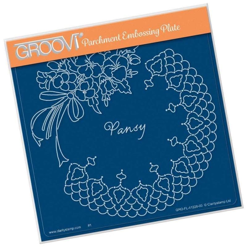 (GRO-FL-41228-03)Groovi Plate A5 Linda Williams PANSY