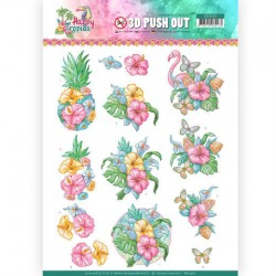 (SB10362)3D Pushout - Yvonne Creations - Happy Tropics -Tropical Flowers