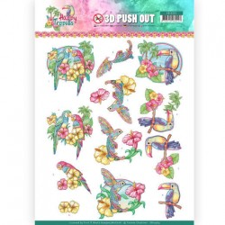 (SB10364)3D Pushout - Yvonne Creations - Happy Tropics - Exotic Birds