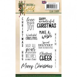 (ADCS10061)Clear Stamps - Amy Design - Christmas in Gold - Text EN
