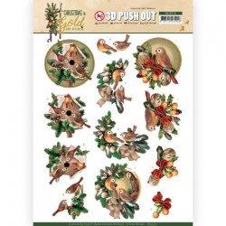(SB10370)3D Pushout - Amy Design - Christmas in Gold - Birds in Gold