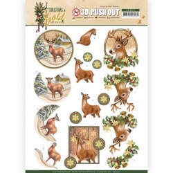 (SB10371)3D Pushout - Amy Design - Christmas in Gold - Deers in Gold