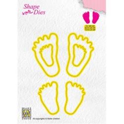 (SD166)Nellie's Shape Dies 3x Baby feet