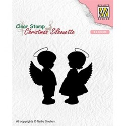 (CSIL008)Nellie's Choice Clear stamps Christmas Silhouette Angelgirl and -boy