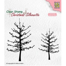 (CSIL010)Nellie's Choice Clear stamps Christmas Silhouette Leafless trees