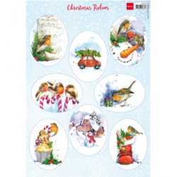 (VK9578)3D Christmas Robins