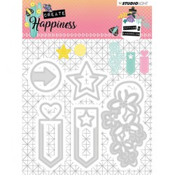 (STENCILCR155)Studio Light Cutting and Embossing Die Create Happiness nr.155