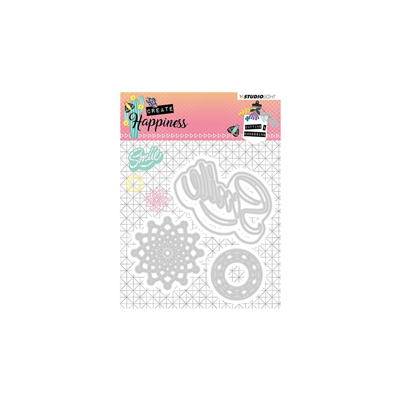 (STENCILCR157)Studio Light Cutting and Embossing Die Create Happiness nr.157