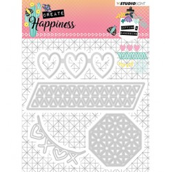 (STENCILCR158)Studio Light Cutting and Embossing Die Create Happiness nr.158