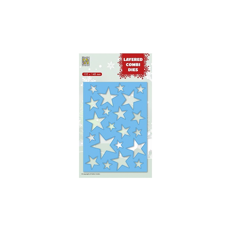 (LCDCS001)Nellie's Layered combi dies Christmas Stars (Layer A)