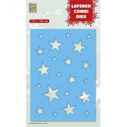 (LCDCS002)Nellie's Layered combi dies Christmas Stars (Layer B)