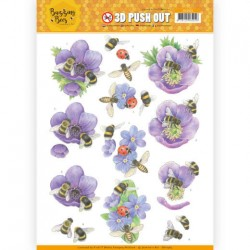 (SB10365)3D Pushout - Jeanines Art - Buzzing Bees - Purple Flowers