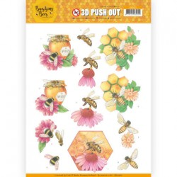 (SB10367)3D Pushout - Jeanines Art - Buzzing Bees - Honey Bees