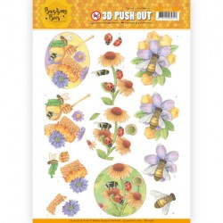 (SB10368)3D Pushout - Jeanines Art - Buzzing Bees - Sweet Bees